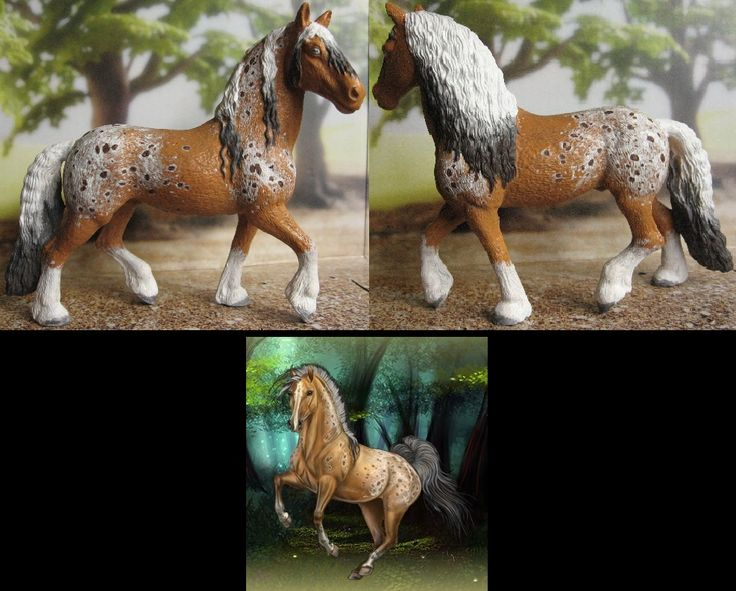 I play Howrse and really loved this appaloosa, and I know how well the schleich frisian stallion looks in appy colors!!