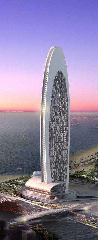 Beach Front Hotel, Dubai, UAE by Atkins Arhitects :: 60 floors, height 302m :: proposal