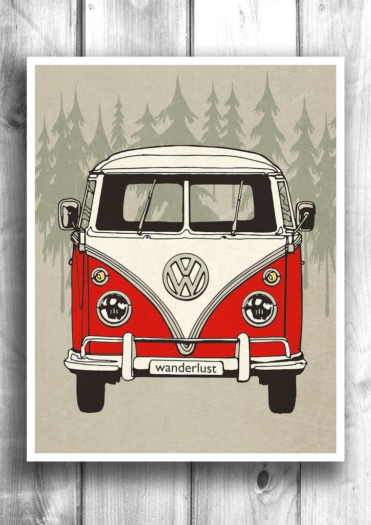 VW Minibus Wanderlust - Fine Art Letterpress Poster - Travel Print
