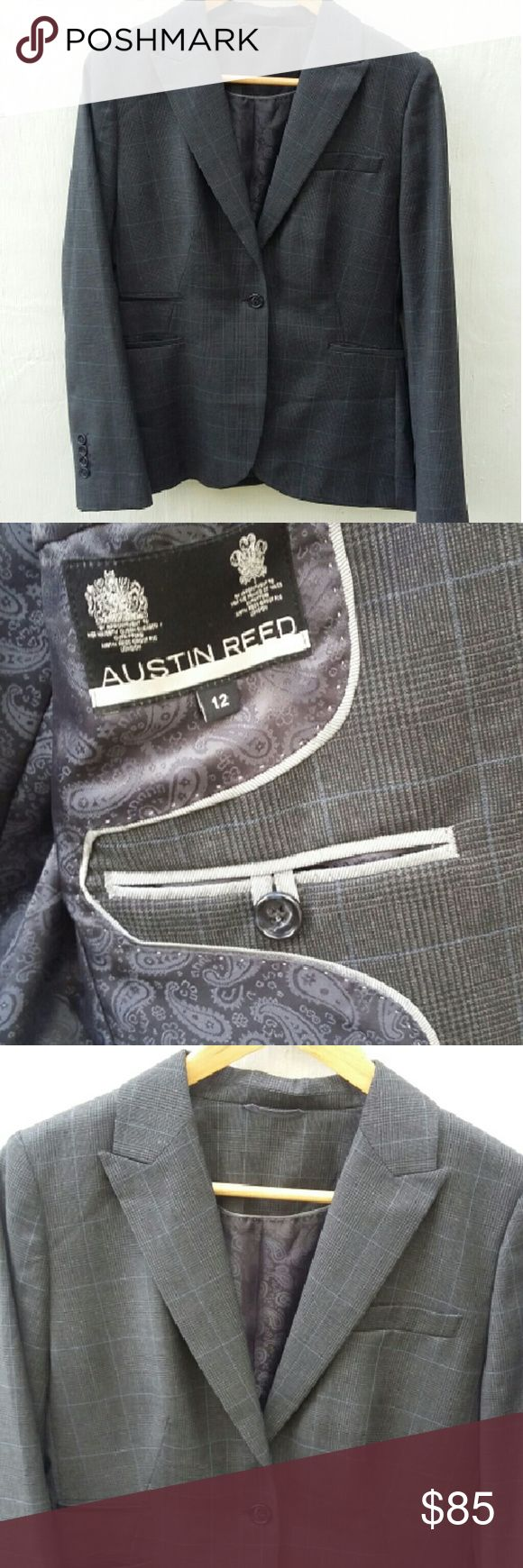 """London's Austin Reed wool blend blazer. Like new. Bond. James Bond. No, you are his superior, the magnificent Dame Judi Dench!  Four front pockets, only one of which has been pierced open. Hidden interior pocket. See pic 2.   50 percent lightweight wool and 50 percent polyester. 100 percent polyester lining. Two side slits in back.   Approx 38"""" bust when buttoned. 27"""" tall from top of shoulder to hem. Size 12 British or size 10 U.S. Dry clean. It is clean and in very exc condition.  Plz see…"""