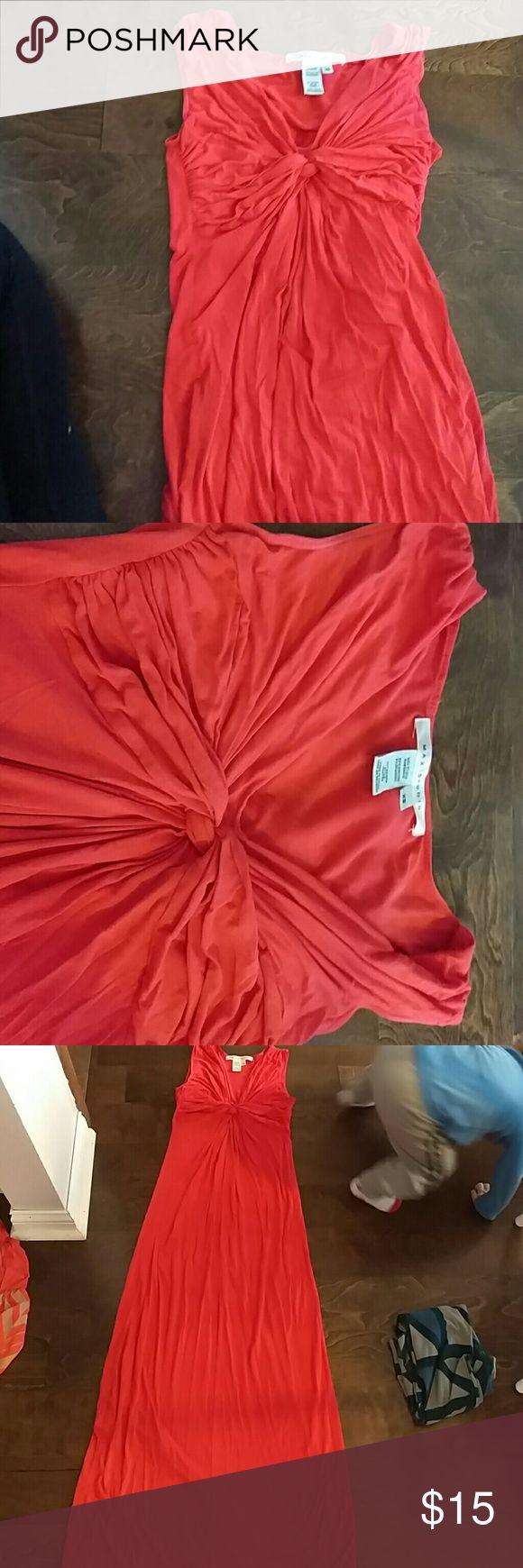 Max Studio Tank Maxi Dress Coral orange, knot front maxi dress. Very forgiving, flattering cut. Max Studio Dresses Maxi