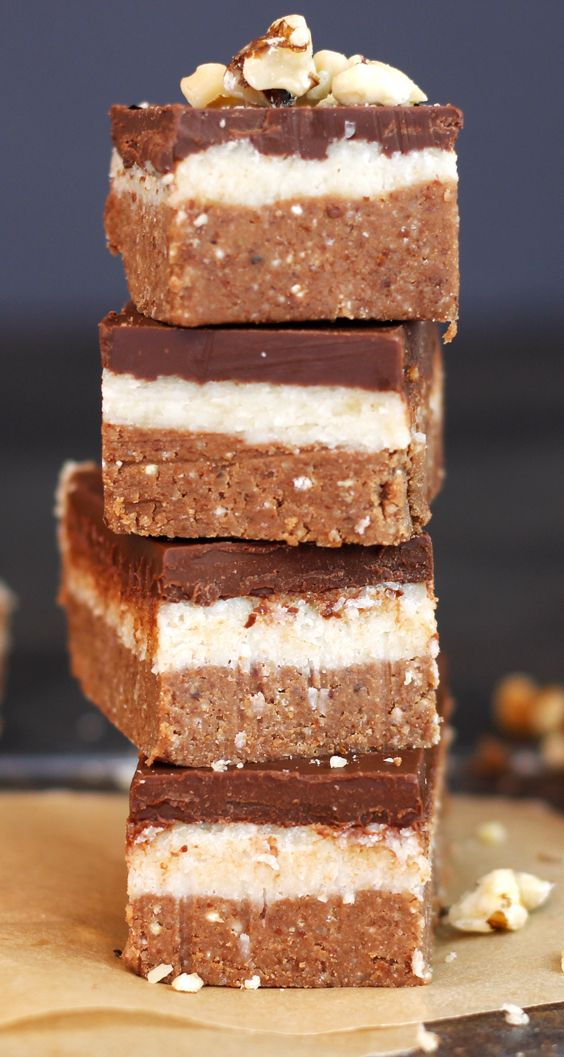 Easy Raw Vegan Chocolate Slices - bottom layer is like soft chocolate cookie, white layer is creamy bliss and whole thing can be made in less than 30 minutes.
