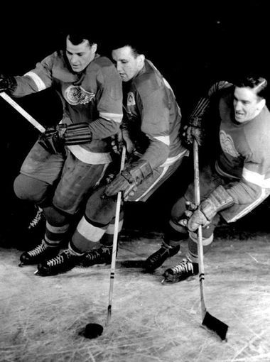 Gordie Howe, Sid Abel  and Ted Lindsay and were a formidable