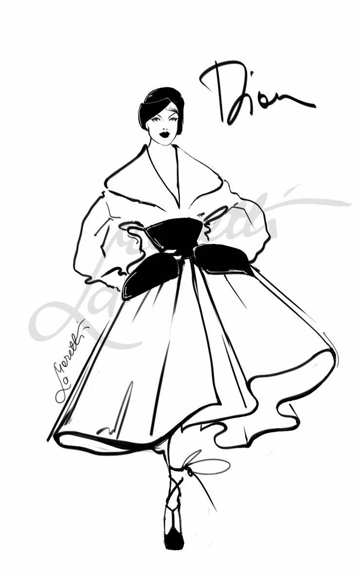"""""""Elegance - Dior Couture fall 2008"""". Illustration by Nadia La Moretti"""