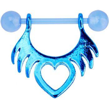 14 gauge 5 8 bioplast blue tribal heart nipple shield set for Heart tattoo nipples