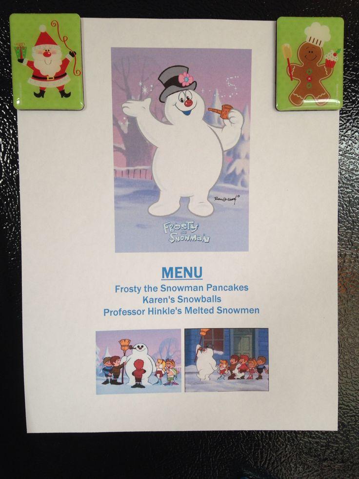 Frosty the Snowman Menu - Frosty the Snowman Movie Night - Family Movie Night - Christmas Movie Night
