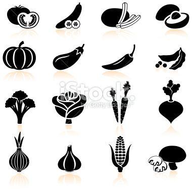 Fresh produce and vegetables black & white icon set Royalty Free Stock Vector Art Illustration