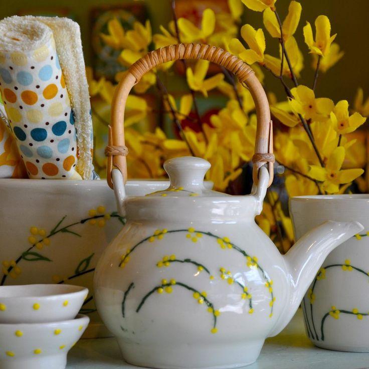 Floral Teapot by Linda Lebrun
