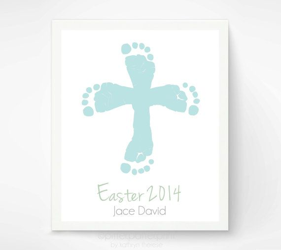 Easter Cross Baby Footprint Art,  Baby's First Easter, Easter Wall Art Print, Pastel Religious Cross Wall Decor,