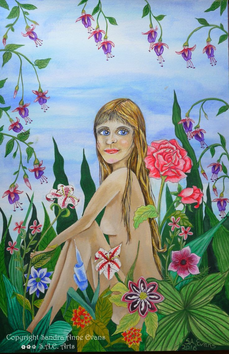 """Garden and Innocence"" She bathes in the beauty and fragrance of the flowers in her innocence, pure beauty and untouched. http://www.saeart.com/"