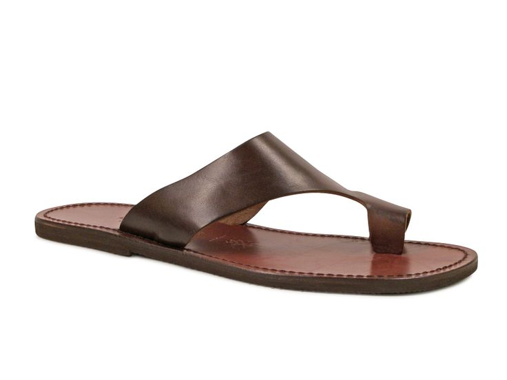 Brown Leather Sandals For Men Handmade In Italy Italian Boutique 68