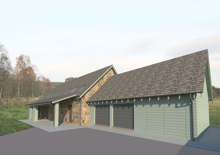 New energy efficient house in Ballogie Aberdeenshire designed by www.jamstudio.uk.com - 3D concept image - exterior garage view timber cladding