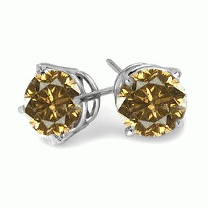 #6015 Round Cut Champagne Diamond Stud Earrings in Sterling Silv