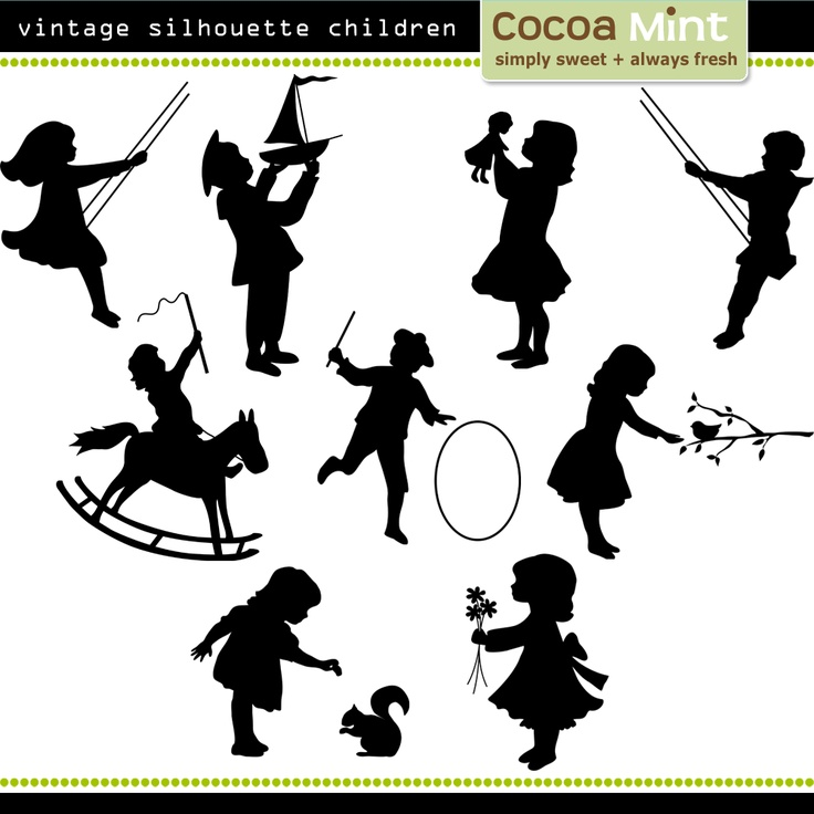 A Scoop of Cocoa: Vintage Silhouette Children Clip Art