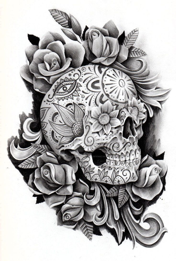 Feminine day of the dead skull