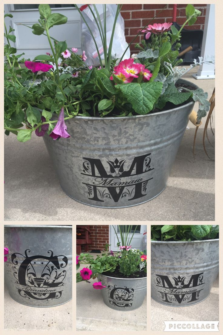 Monogrammed flower pots