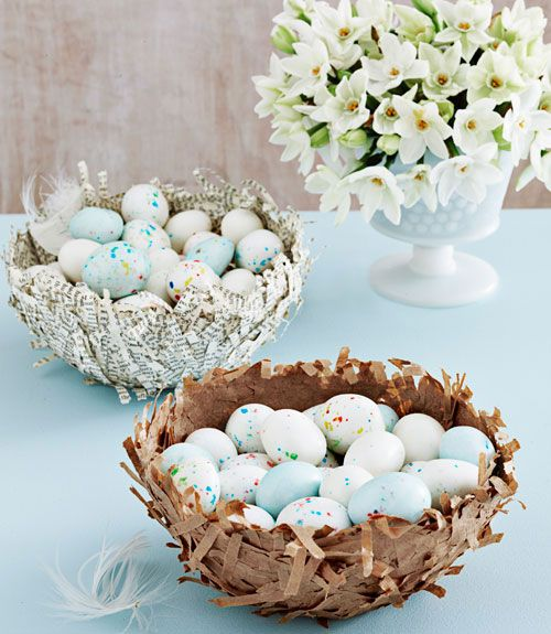 easter: Birds Nests, Easter Crafts, Paper Mache, Easter Decor, Easter Eggs, Paper Strips, Papier Mache, Activities Books, Easter Ideas