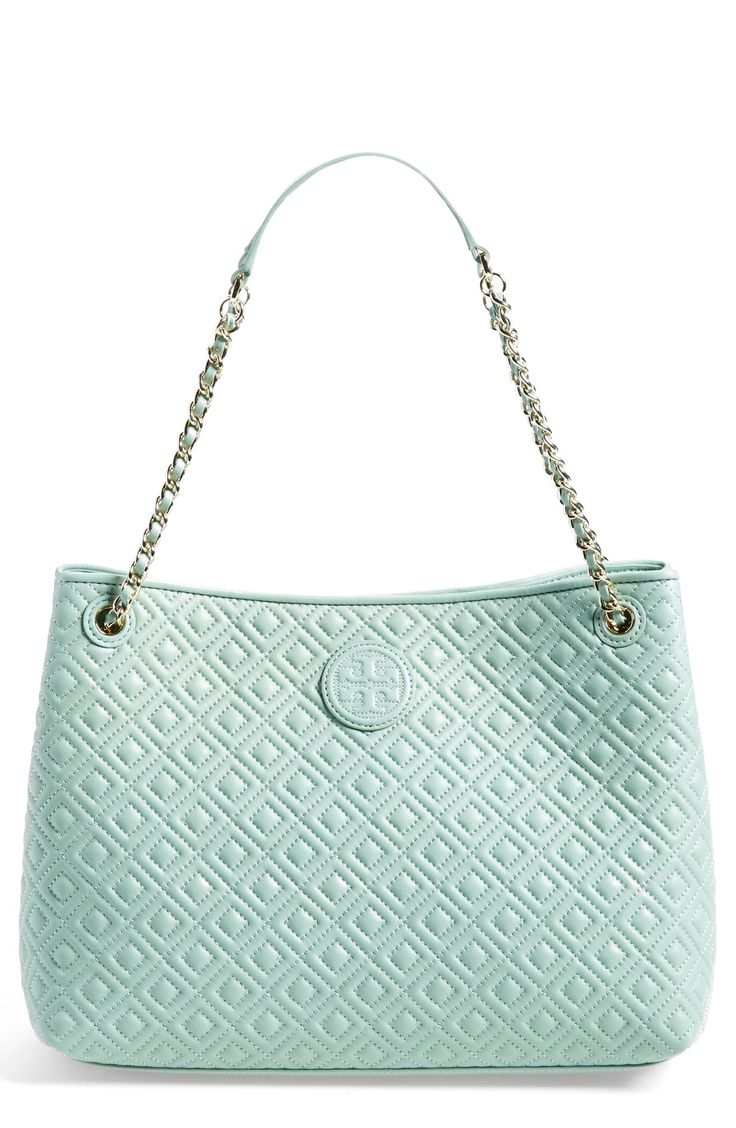 Love the pretty leather diamond quilting on this polished mint Tory Burch tote.