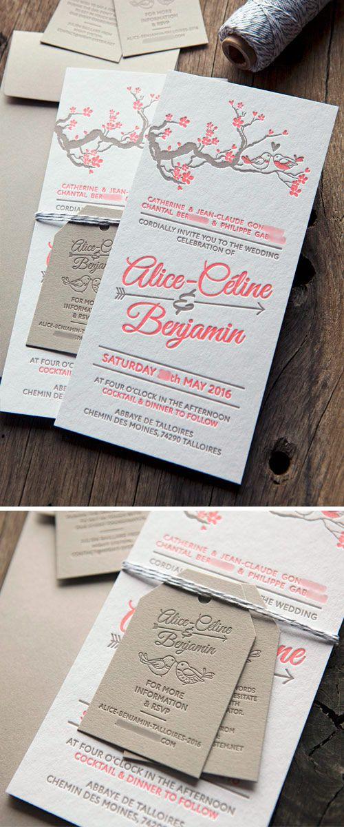 Carton invitation mariage avec étiquettes et enveloppes coordonnées / customizable letterpress wedding invite whith cherry blossom tree