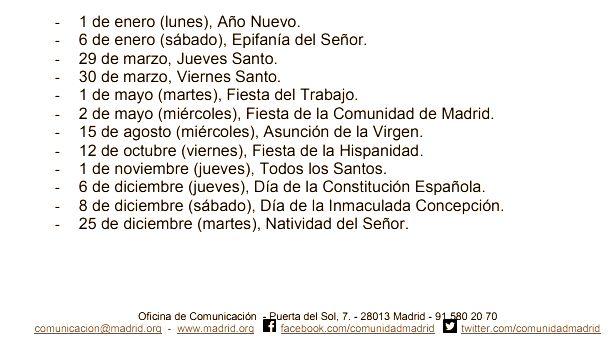 Organiza la agenda con las Fiestas de a Comunidad de Madrid 2018 #festivos #calendarioescolar #Madrid