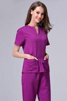 2016 Summer women hospital medical scrub clothes set dental clinic and beauty salon nurse uniform fashionable design slim fit