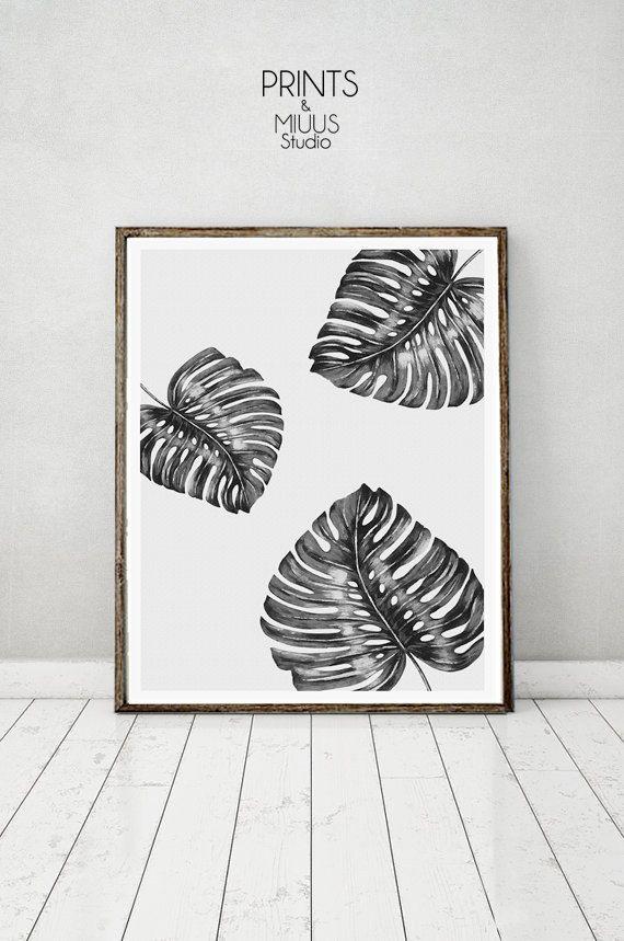 Monstera Leaf Tropical Wall Art Print by PrintsMiuusStudio on Etsy