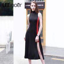 LEEJOOER 2017 Новое летнее платье женское Элегантный Участник Dress туника Мода Черный Длинные платья женские Европейский Стиль Sexy Клуб Уличной Maxi Dress(China (Mainland))