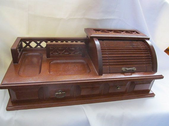 Vintage Wood Roll Top Mens Valet Jewelry Dresser Box