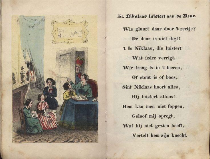 St. Niklaas luistert aan de Deur. Sint Nikolaas en zijn Knecht - Jan Schenkman 1850 uitgave G. Theod. Bom Amsterdam