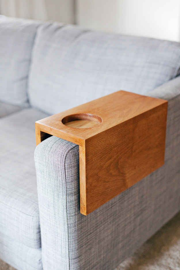 Construct a sofa sleeve to hold your booze while you watch TV.