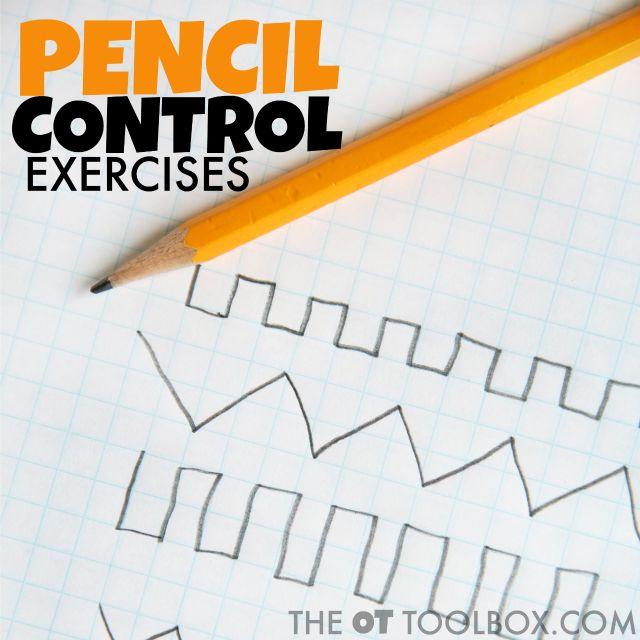 Pencil control exercises help kids improve handwriting legibility when writing.