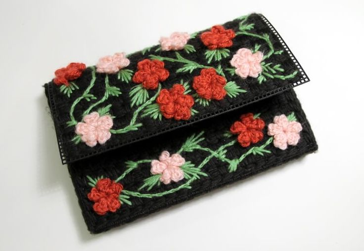 floral plastic canvas clutch