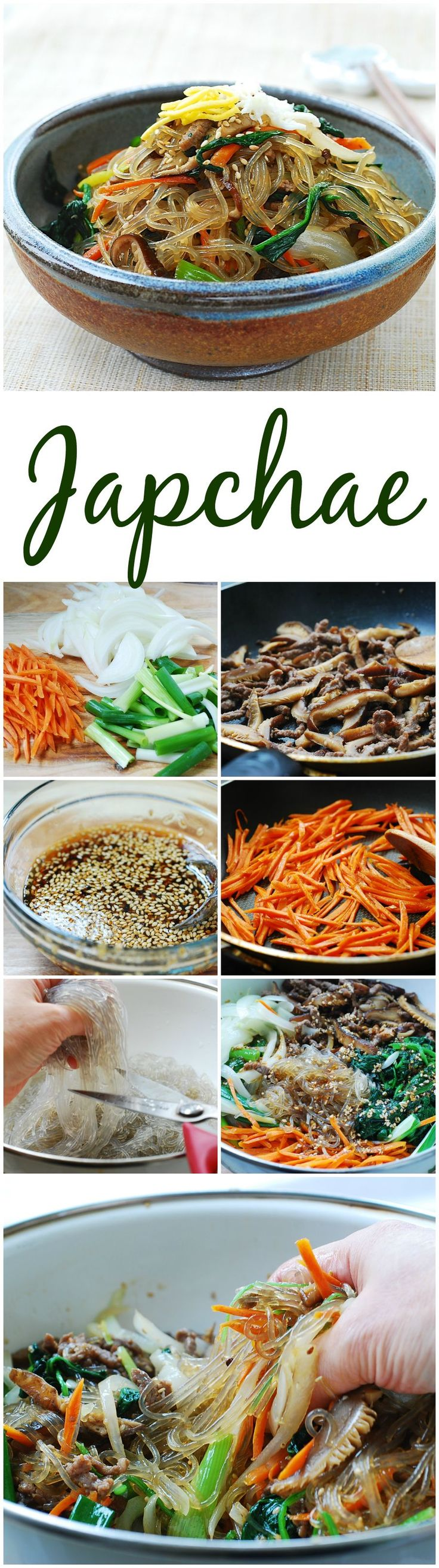 Easy to follow recipe for Korean stir-fried starch noodles with beef and vegetables!