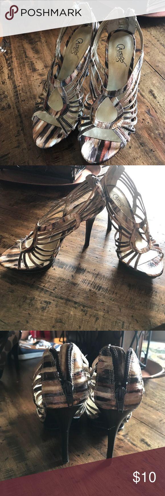 Zipper back Carlos Santana Heels Super cute strappy zipper back Carlos Santana heels. Carlos Santana Shoes Heels