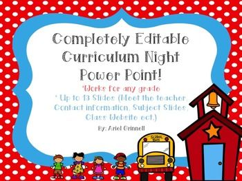 This is an adorable back to school night or curriculum night power point! It is…