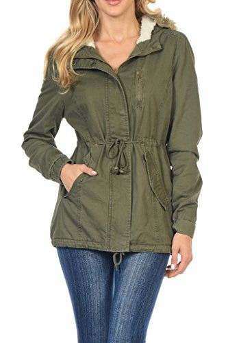 Women's Faux Fur Lined Fashion Military Hoodie Coat Jacket Olive Green  Small * This is an