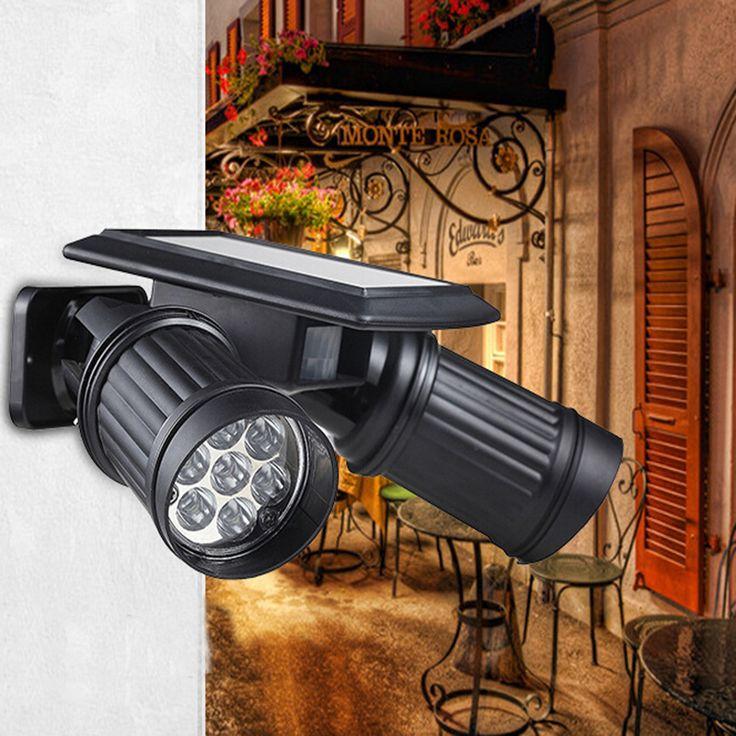 2017 Nuevo Solar Focos LED Doble Cabeza Tiendas Garaje Jardín de Pared de Luz Del Sensor de la Inducción Del Cuerpo Humano 14 Focos LED de La Lámpara