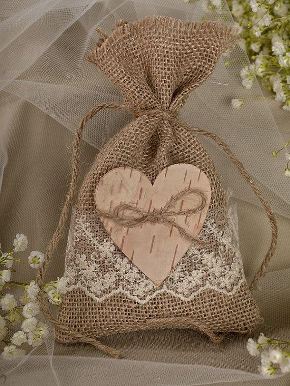 Natural Rustic Burlap Wedding Favor Bag , Natural Birch Bark Wedding Favor, County Style Bag