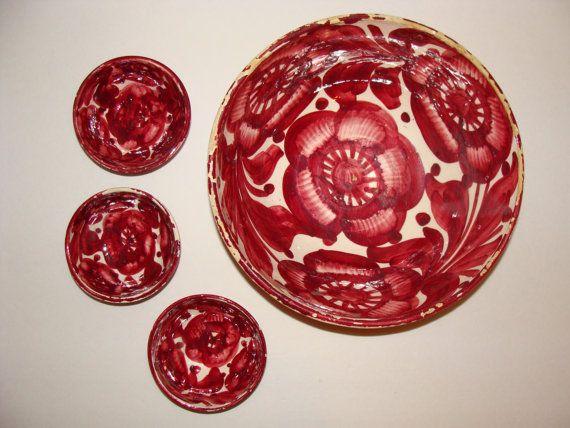 Vintage Spanish Pottery Large Serving Bowl & 3 Nesting Bowls Mediterranean Villa Kitchen by studio180, SOLD