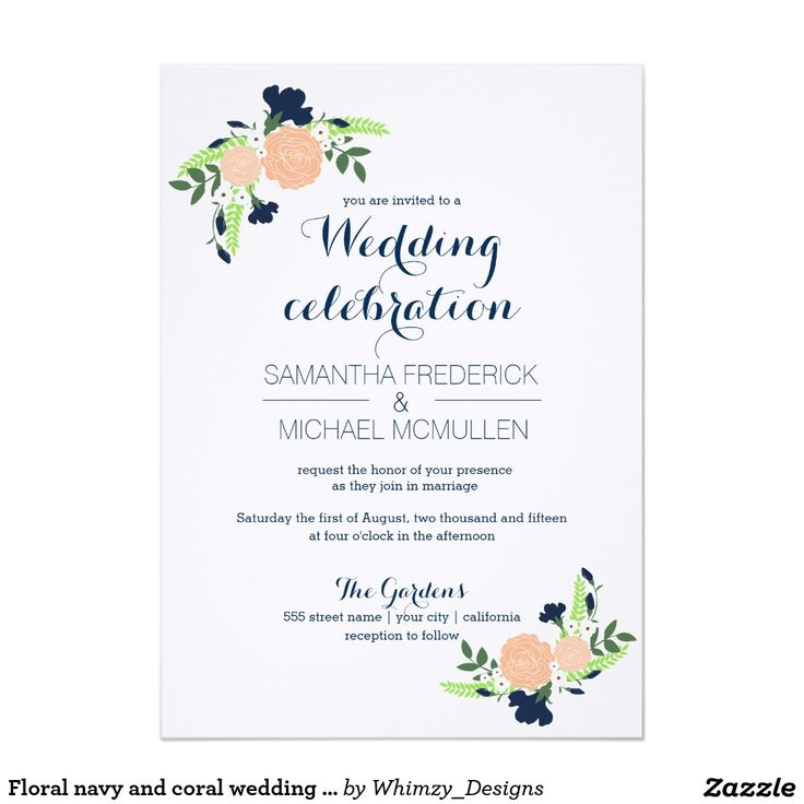 322 best wedding invitations images on pinterest zazzle floral navy and coral wedding invitation stopboris Image collections