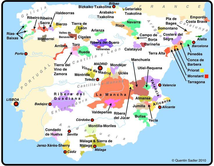 carte espagne viticole
