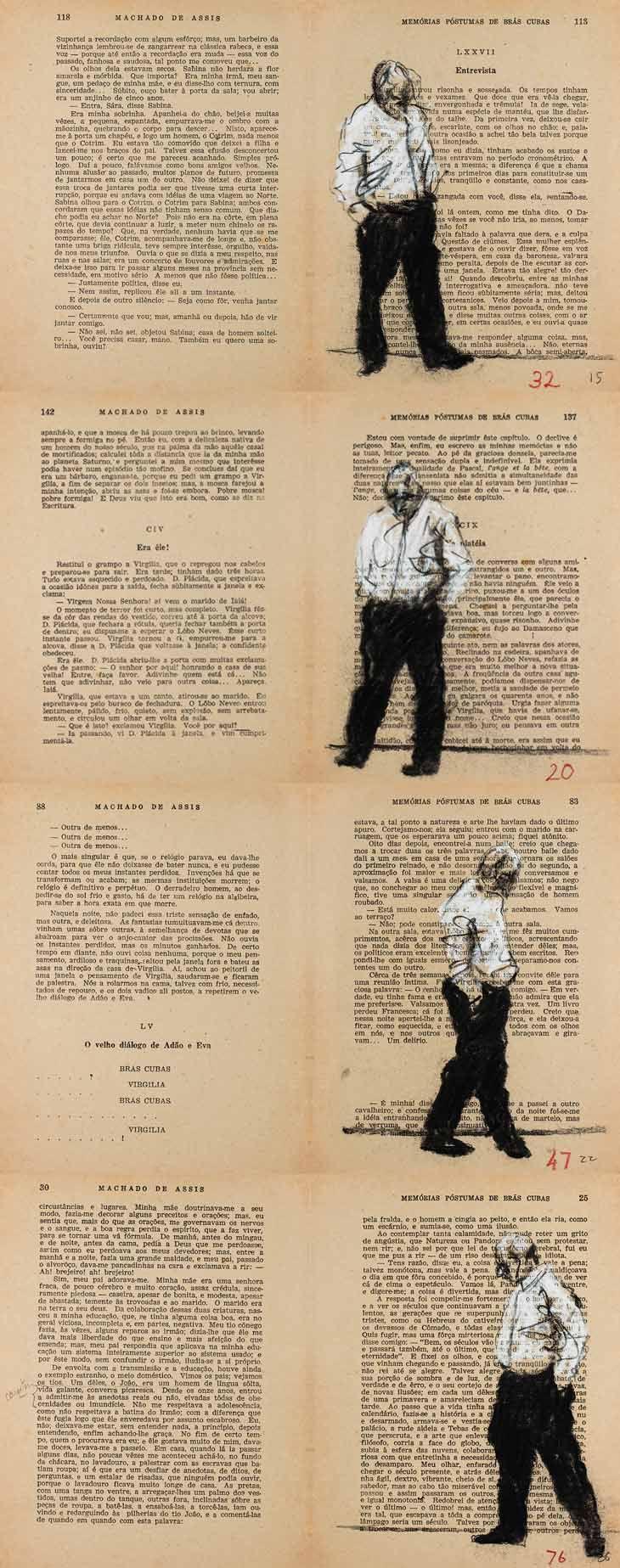 """Ilustração do livro """"Memórias Póstumas de Brás Cubas"""", de Machado de Assis, 2012. O artista utilizou técnicas como carvão, grafite e lápis de cor ou guache. O trabalho é interessante pois, em várias páginas, o artista faz um desenho contínuo, como se a figura representada estivesse mesmo no livro."""