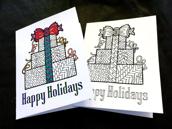 Print And Color Your Own Holiday Greeting Cards Printable PDF Zentangle Happy Holidays