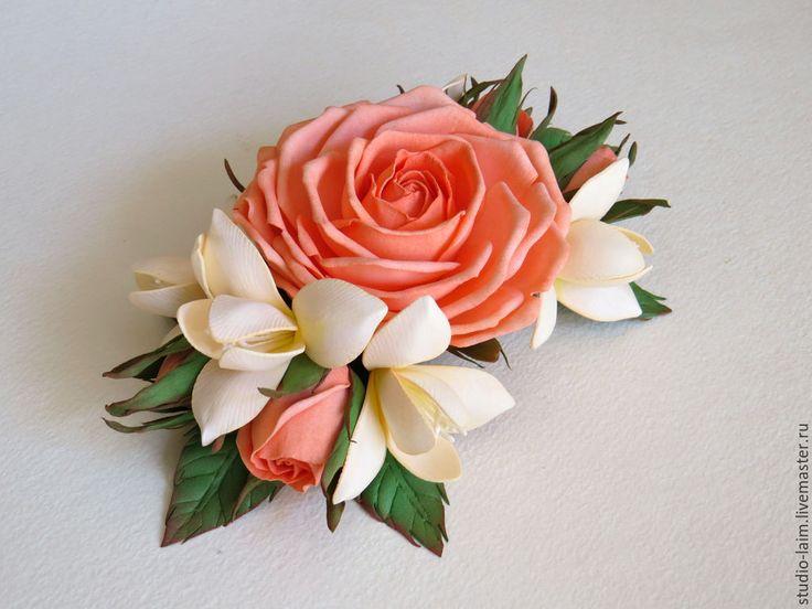 Купить Заколка-автомат для волос с персиковыми розами - заколка для волос, заколка с цветами, заколка