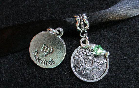 Virgo Birthstone Choker Antique Silver Zodiac by IsleOfCraftin, $9.25