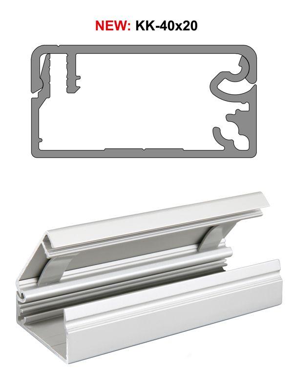 Das neue Kabelkanalprofil KK-40x20 aus eloxiertem Aluminium zeichnet sich durch hohe Funktionalität und ein ansprechendes Design aus.
