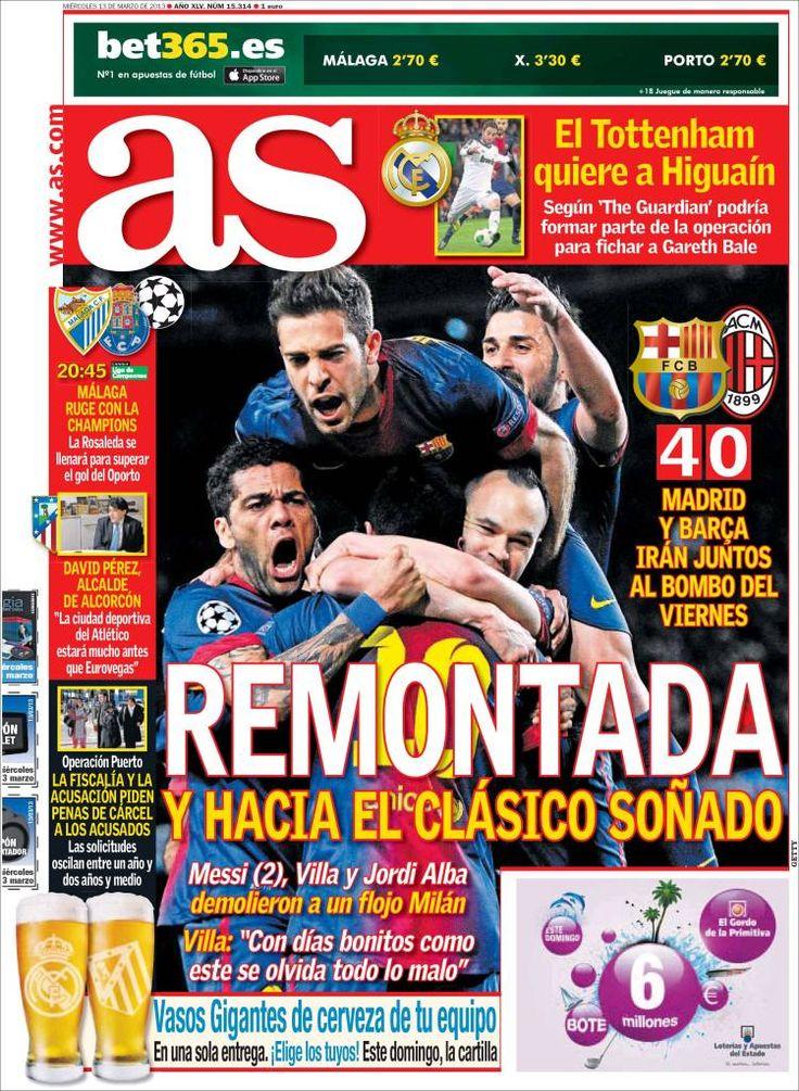 Los Titulares y Portadas de Noticias Destacadas Españolas del 13 de Marzo de 2013 del Diario Deportivo AS ¿Que le pareció esta Portada de este Diario Español?