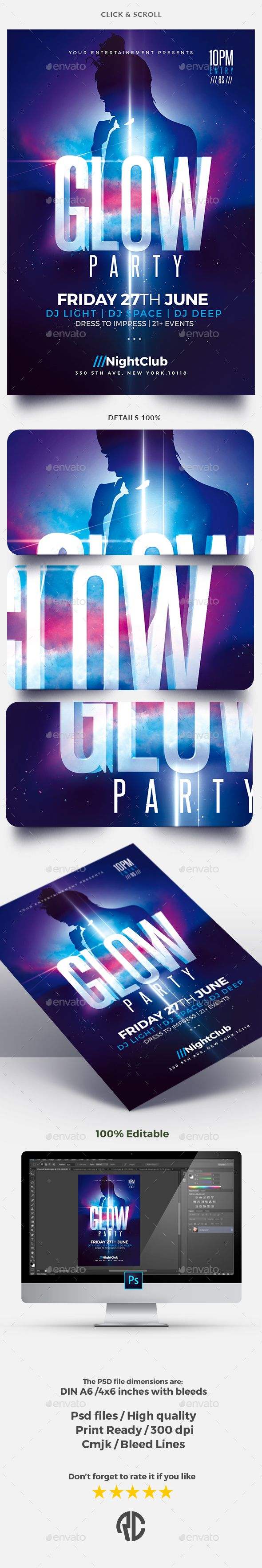 Glow Party | Flyer Template...  Exclusive Template, Very easy to Edit and Creative Design perfect to promote your Party !