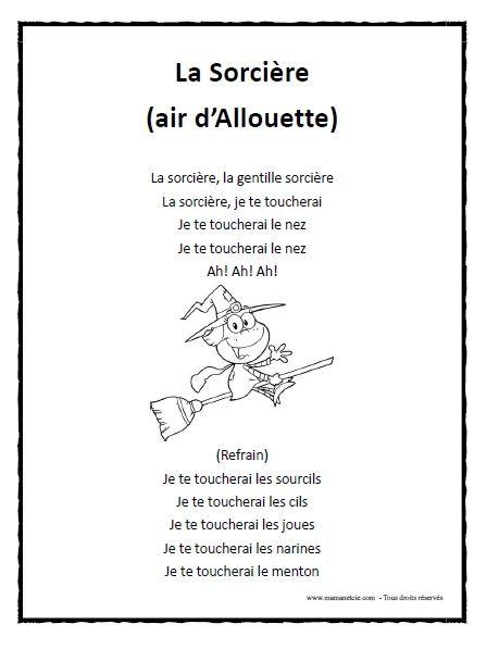 Chanson - La Sorcière à imprimer en .pdf
