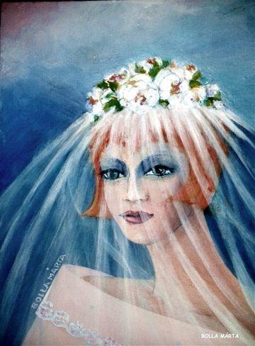 Veiled of the future - Fátyolos a jövő - Acrylic on canvas - 18 x 24 cm - by Márta Bolla - Hungary